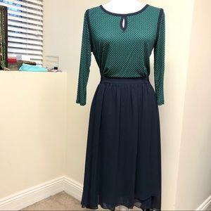 AnnTaylor M Green/Navy Blouse & Low-High Skirt Set